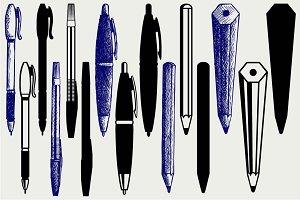 Pencil, pen and fountain pen SVG
