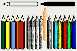 Colorful set of pencils SVG