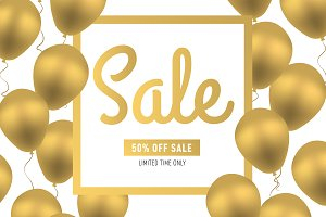 Sale banner template. 50% off sale.