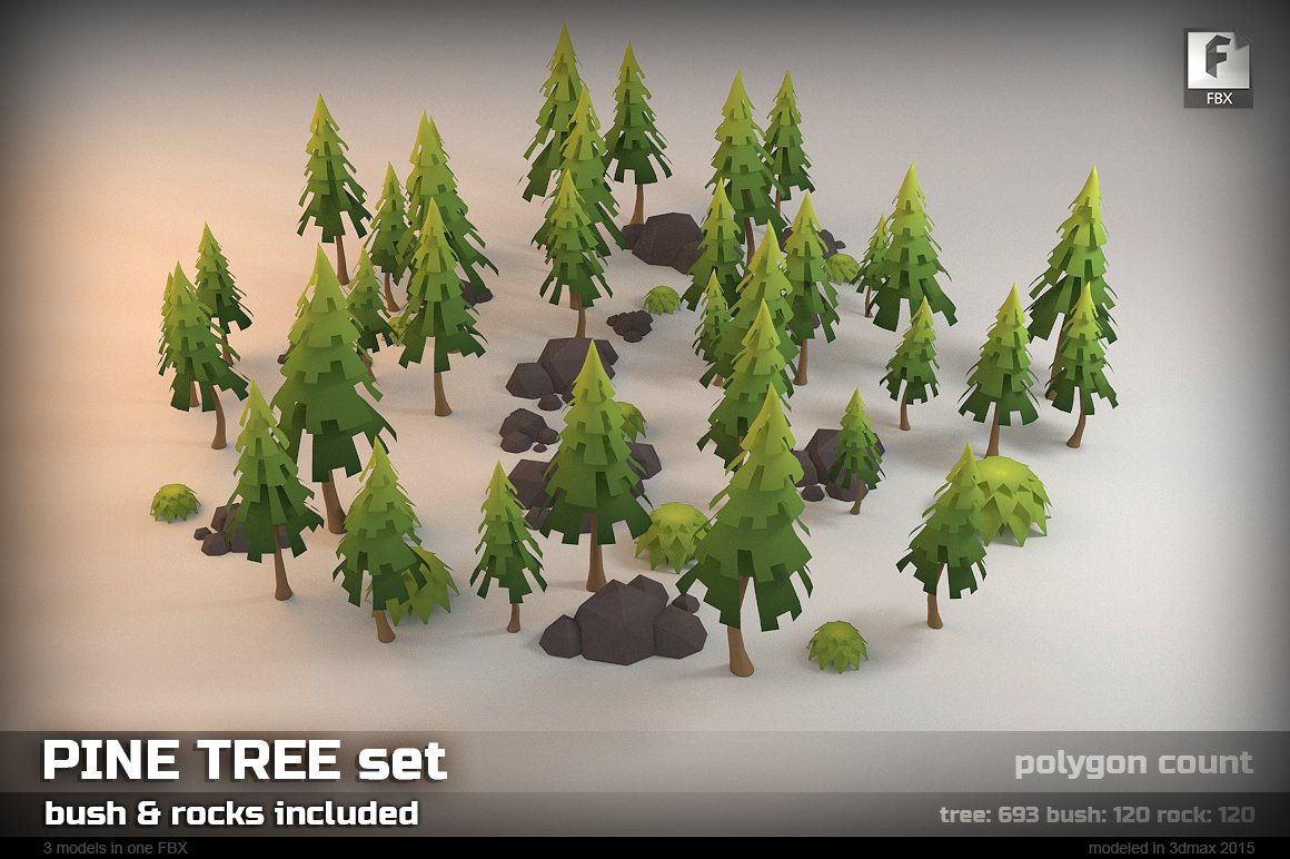 Pine Tree Low-poly Set