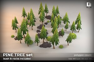 Pine Tree low-poly set