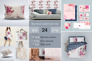 Big Floral Watercolor Set