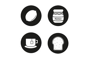 Breakfast items. 4 icons. Vector
