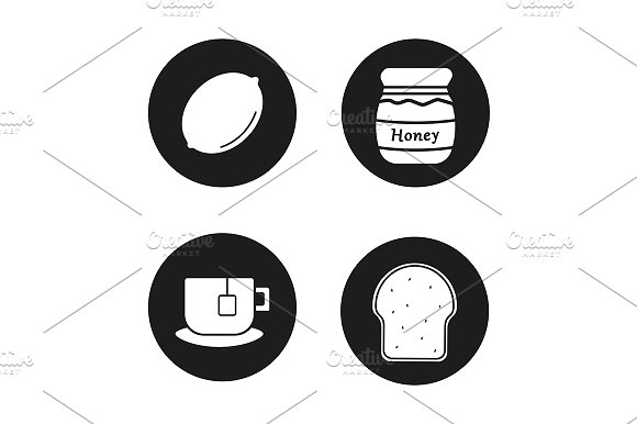 Breakfast Items 4 Icons Vector