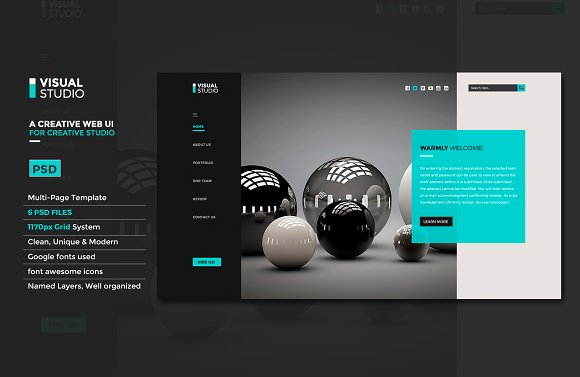 Creative Studio Website UI PSD Website Templates Creative Market - Photo studio website template