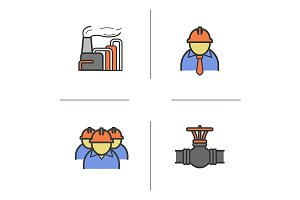 Industrial complex. 4 icons. Vector