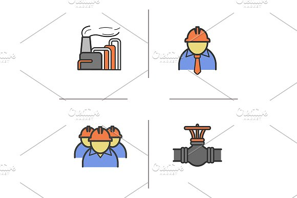 Industrial Complex 4 Icons Vector