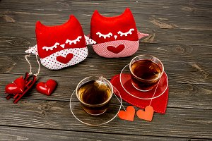 Red cloth sleepy pillows