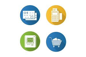 Supermarket shopping 4 icons. Vector
