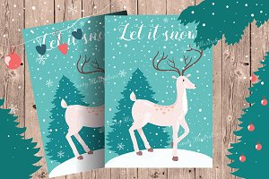 Christmas card + winter clipart