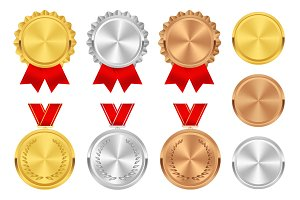 Medals. Gold, silver, bronze awards.