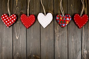 Five red and white hearts