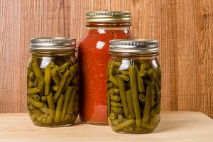 Jars of beans and tomato sauce