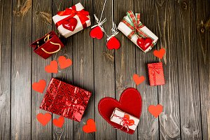 Gift boxes and red hearts