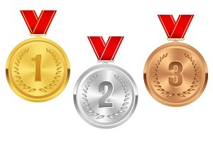 Medals set. Silver, golden, bronze.