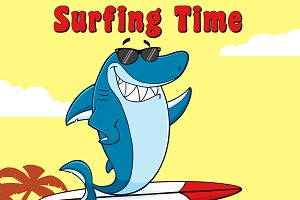 Blue Shark And Text Surfing Time
