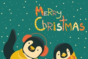 Penguins celebrating Christmas