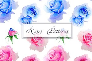 Patterns  seamless Roses watercolor