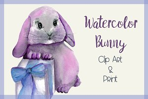 Watercolor Bunny - Clipart & Print