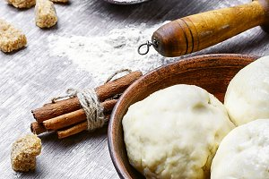 Raw dough for baking