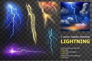 Lightning realistic elements set