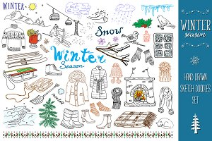 Winter season sketch doodles set