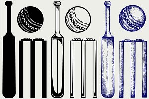 Equipment for cricket SVG
