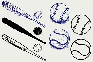 Baseball and Bat SVG