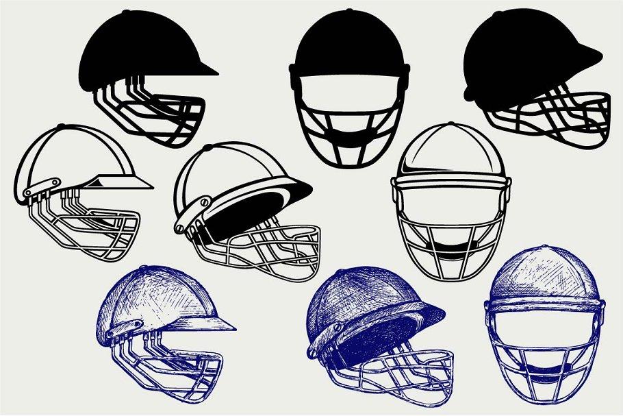 Cricket Helmet Svg Pre Designed Illustrator Graphics Creative Market