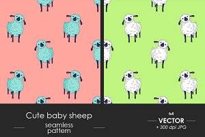 Cute baby sheep seamless pattern