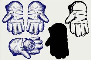 Cricket ball and glove SVG