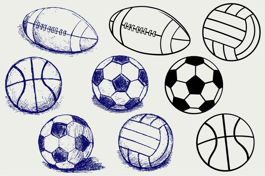 Collection of sports balls SVG