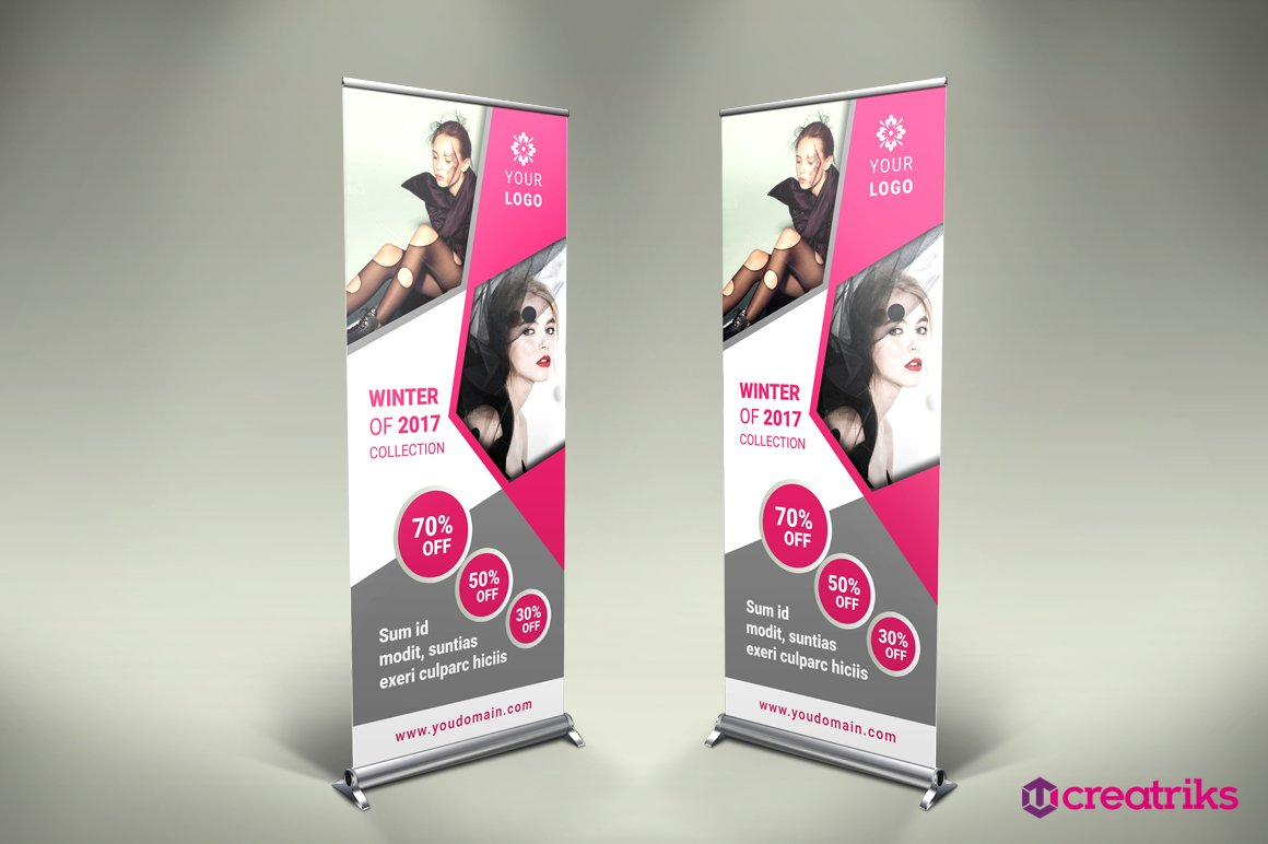 fashion roll up banner flyer templates creative market