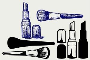 Lipstick and powder brush SVG