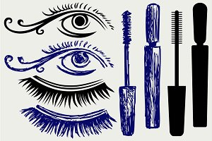 Ink for eyelashes and eye SVG
