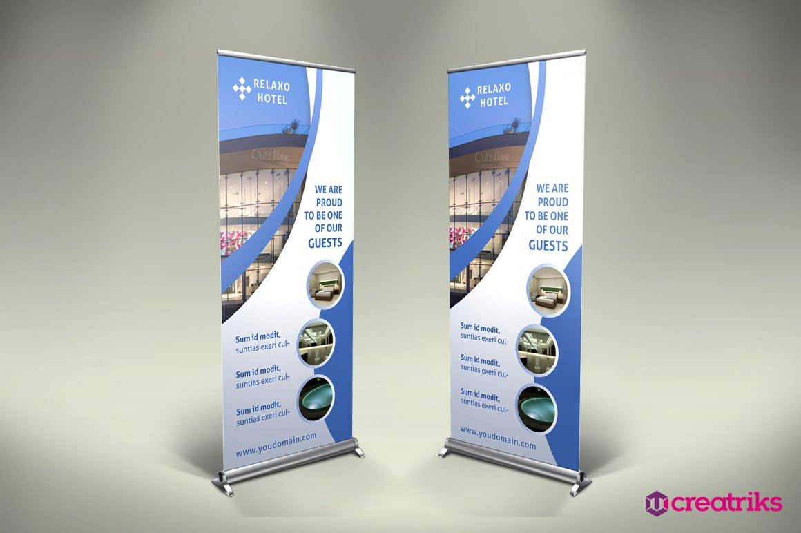 hotel roll up banner flyer templates creative market
