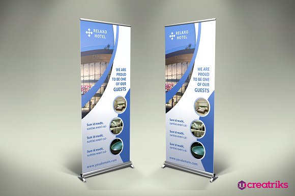 hotel roll up banner flyer templates creative market. Black Bedroom Furniture Sets. Home Design Ideas