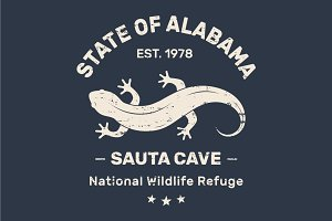 Alabama tee design with salamander
