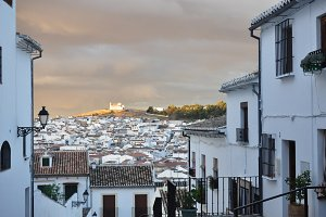 street and sunset andalusian village