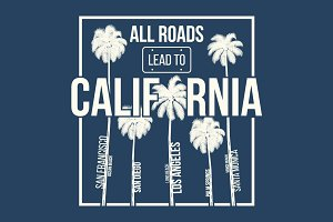 California tee design with palms