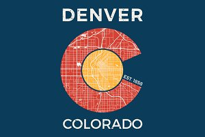 Colorado tee design with Denver map
