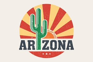 Arizona tee design with saguaro