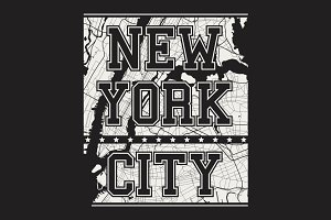 New York tee print with city streets