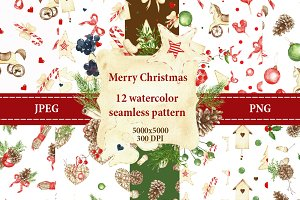 seamless watercolor pattern +1 card