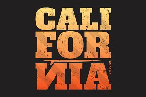 California tee print with surfboard