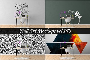 Wall Mockup - Sticker Mockup Vol 148