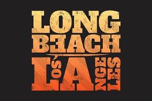 Long Beach LA tee print