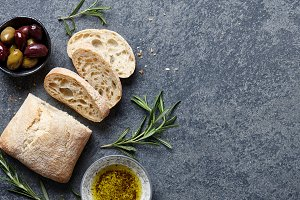 Italian ciabatta with oil and herbs