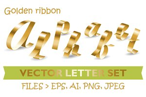 Golden ribbon Alphabet