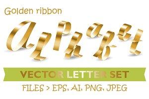 Golden ribbon Alphabet